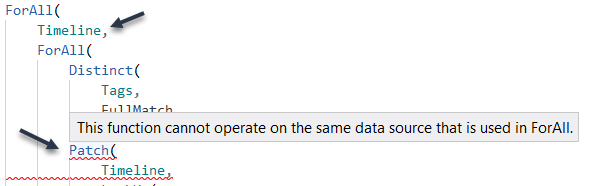 Patch can't work on the same data source